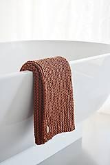 Úžitkový textil - Pletený koberček/predložka - škoricová - 12309329_