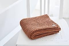 Úžitkový textil - Pletený koberček/predložka - škoricová - 12309330_
