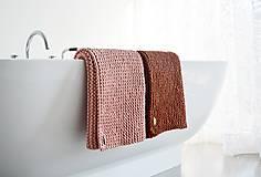 Úžitkový textil - Pletený koberček/predložka - škoricová - 12309333_