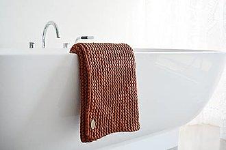 Úžitkový textil - Pletený koberček/predložka - škoricová - 12309328_