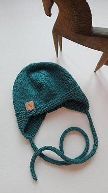 Detské čiapky - Detská čiapočka  (petrolejová) - 12311946_