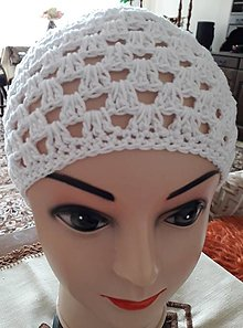 Čiapky - Biela háčkovaná čiapka  Jar-leto - 12312110_