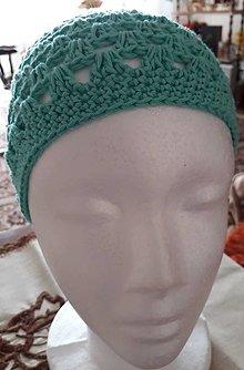 Čiapky - Zelená-tyrkysová háčkovaná čiapka  Jar-leto - 12312152_