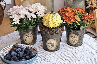 Nádoby - Sada jesenných kvetináčov - 12311297_