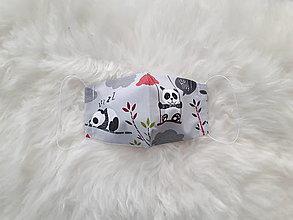 Rúška - Detské rúško pandy na sivom M - 12313251_