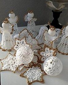 Dekorácie - Háčkovaná vianočná sada zlatá - 12312574_