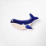 Odznaky/Brošne - Veľryba kráľovská modrá brošňa - 12314068_