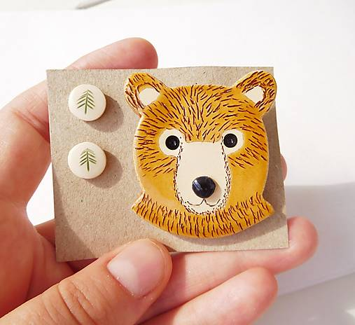 Keramický lesný set medveď