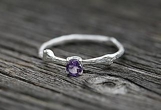 Prstene - Vetvičkový s brúseným ametystom - 12313215_