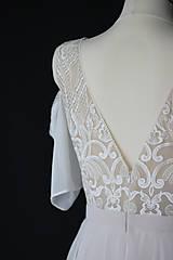 Šaty - Telové svadobné šaty z geometrickej krajky  v boho štýle - 12314753_