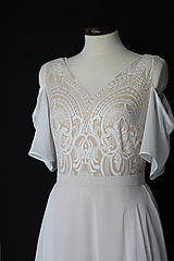Šaty - Telové svadobné šaty z geometrickej krajky  v boho štýle - 12314754_
