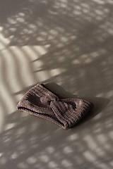 Čiapky - Hnedá pletená čelenka  - 12314501_