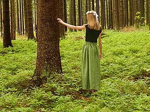 Sukne - Ľanová sukňa zelená - 12312964_