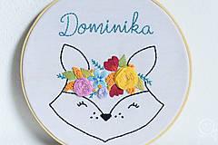 Detské doplnky - Vyšívaná dekorácia LÍŠKA s menom - 12314277_