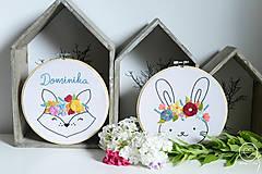 Detské doplnky - Vyšívaná dekorácia LÍŠKA s menom - 12314279_