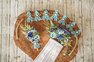 Ozdoby do vlasov - Svadobný set modrá romantika - 12317616_