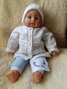Detské súpravy - Ručne pletená detská  súprava v bielom - 12316775_
