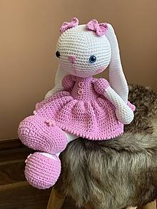Hračky - zajačica Fazuľka  - v ružovom - 12317720_