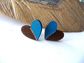 Náušnice - napichovačky srdiečka(modro-hnedé) - 12316497_