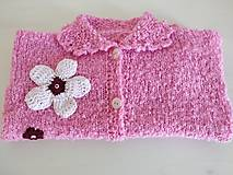 Detské oblečenie - Ružový svetrík s kvietkami - 12317439_