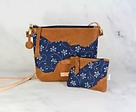 Kabelky - Modrotlačová kabelka Lea kožená 4 - 12317661_