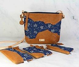 Kabelky - Modrotlačová kabelka Lea kožená 4 - 12317670_