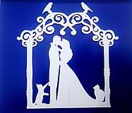 Dekorácie - Svadobný zápich - pár v altánku - 12317502_