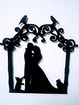 Svadobný zápich - pár v altánku (Čierna)