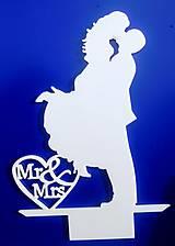 Dekorácie - Svadobný zápich - svadobný pár Mr&Mrs - 12317543_