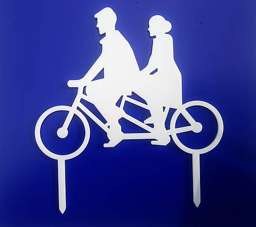 Svadobný zápich - pár na bicykli