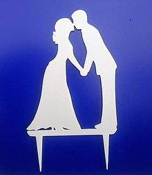 Dekorácie - Svadobný zápich - svadobný pár (Biela) - 12317429_