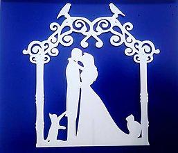 Dekorácie - Svadobný zápich - pár v altánku (Biela) - 12317502_