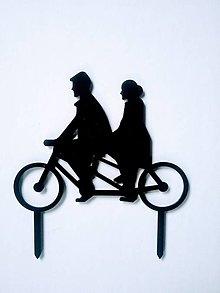 Dekorácie - Svadobný zápich - pár na bicykli (Čierna) - 12317514_