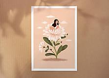 Grafika - Asterová panenka - umělecký tisk, A4 - 12318597_