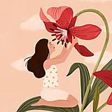 Grafika - Liliová panenka - umělecký tisk, A4 - 12318611_