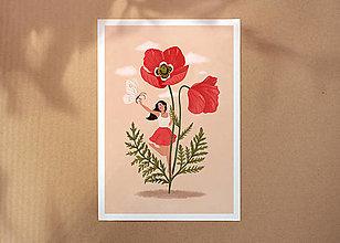 Grafika - Maková panenka - umělecký tisk, A4 - 12318583_