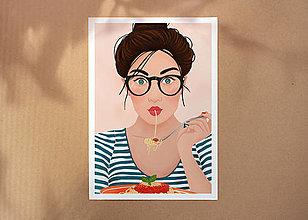 Grafika - Špagety - umělecký tisk, A4 - 12318633_