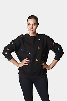 Mikiny - MIkina bodkovaná čierna oversize - 12320851_
