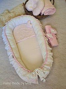 Textil - Madeirové -  hniezdo s krajkou   :   púdrová ružová minky/ biela bavlna - 12321147_