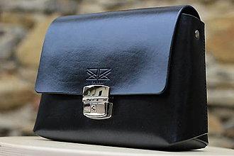 Kabelky - Kožená kabelka FIDELIS BLACK SILVER - 12320416_
