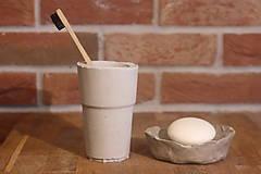 Nádoby - Betónový list na mydlo a pohár na kefky - 12320349_