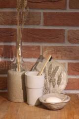 Nádoby - Betónový list na mydlo a pohár na kefky - 12320357_