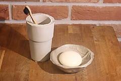 Nádoby - Betónový list na mydlo a pohár na kefky - 12320363_