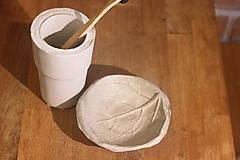 Nádoby - Betónový list na mydlo a pohár na kefky - 12320365_
