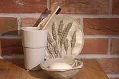 Nádoby - Betónový list na mydlo a pohár na kefky - 12320367_