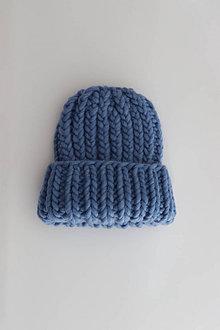 Čiapky - Chunky čiapka vo farbe Cloudy Blue - 12319788_