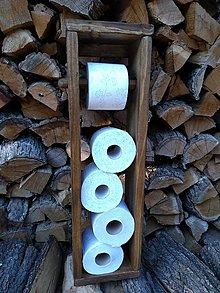 Nábytok - Drevený stojan na toaletný papier s držiakom - 12321780_