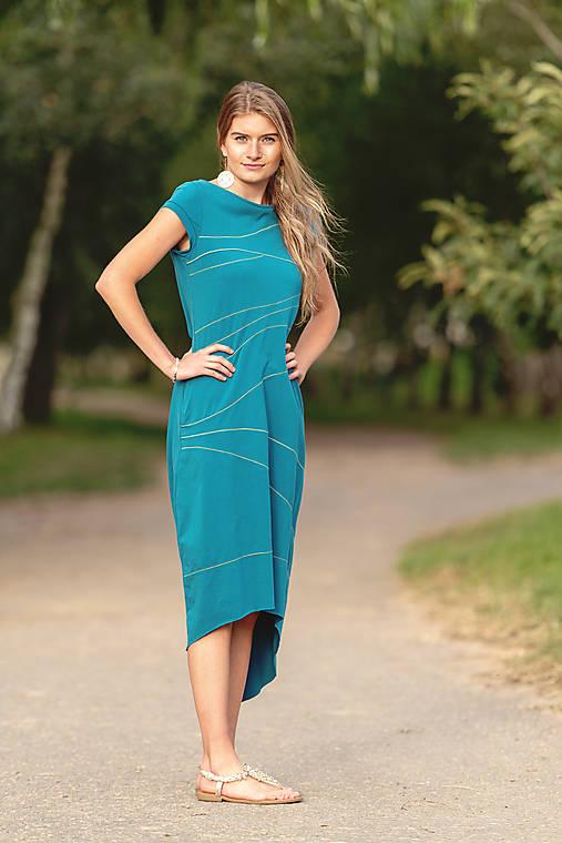 Šaty - Šaty sešívané lahvově zelené - 12319457_