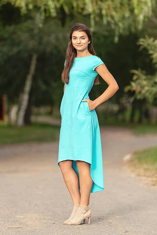 Šaty - Šaty sešívané tyrkys - 12319459_