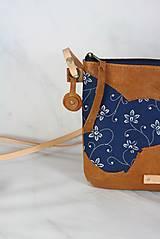 Kabelky - Modrotlačová kabelka Lea kožená 4 - 12318248_